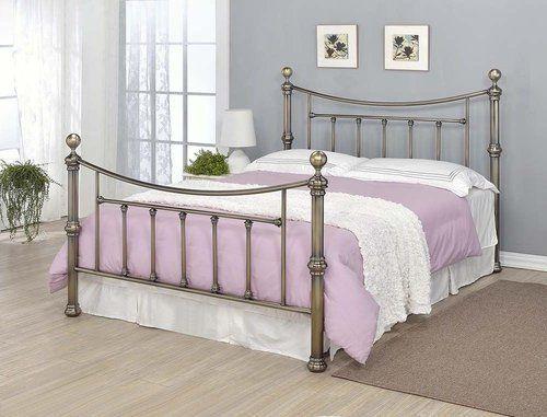 Metal Double Bed Frame Luxury Classic Modern Style Bedroom Memory Foam Mattress