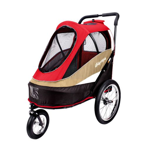 IBIYAYA PET BICYCLE TRAILER & STROLLER - ALL IN ONE - RED