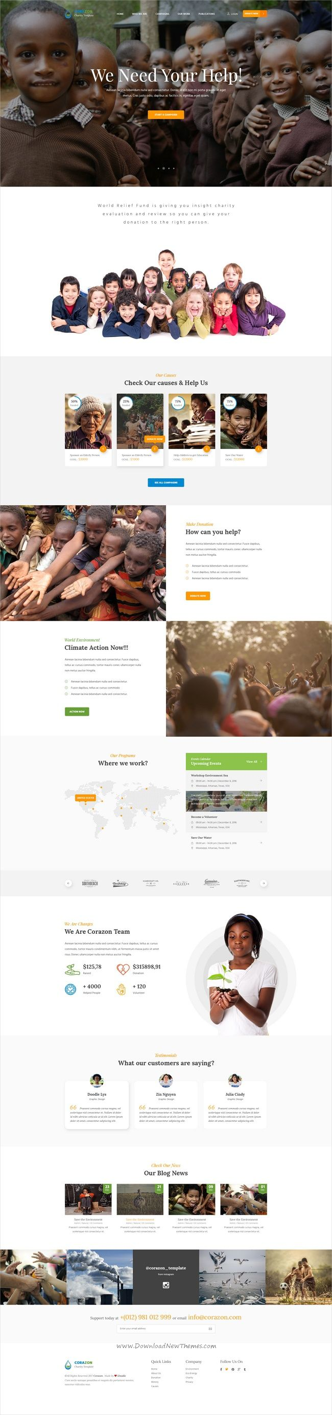 Corazon is a wonderful #Photoshop template for environment, #charity, non-profit organization, #donation, church or fundraising website with 18+ layered PSD files download now➩ https://themeforest.net/item/corazon-multi-concept-environment-charity-green-energy-nonprofit-psd-template/19535858?ref=Datasata