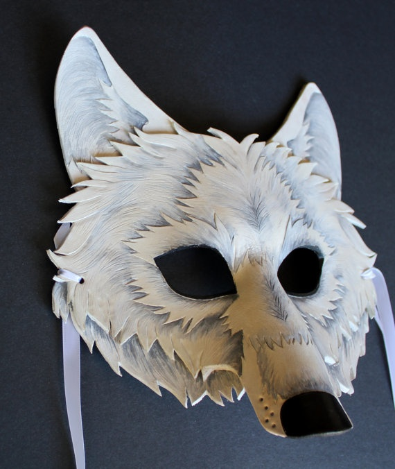 Another pin of my wolf design! White Wolf Mask - Handmade Leather Mask Oak Myth