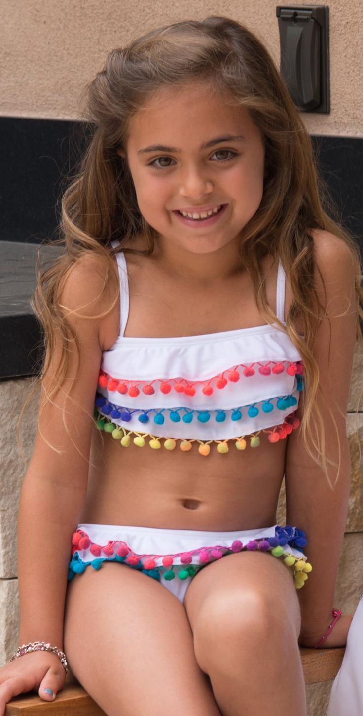 #PilyQ 2015 Kids Cotton Candy White #Bikini COT-806B #southbeachswimsuits