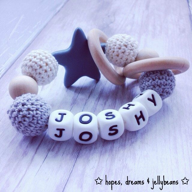Personalised, keepsake, teething rattle, teether, new baby gift, baby shower, present, unique, present, crochet, by HopeDreamsJellybeans on Etsy https://www.etsy.com/uk/listing/485526293/personalised-keepsake-teething-rattle