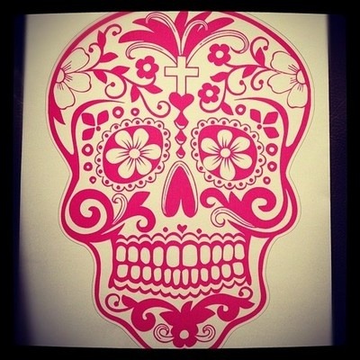 New car #decal :) #skull #sugarskull #cardecal #girly #caraccessories (Taken with Instagram)