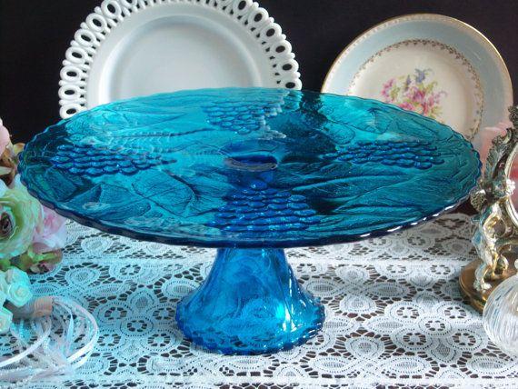 Blue Glass Cake Stand  L. E. Smith Cake by RetropolitanHolmes
