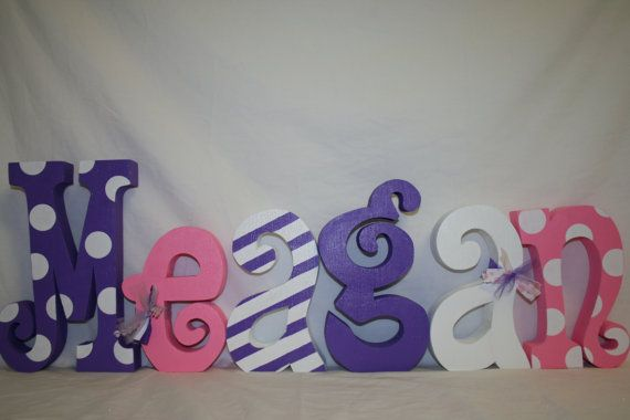 Wood Letters, Pink And Purple, Nursery Letters, 6 Letter
