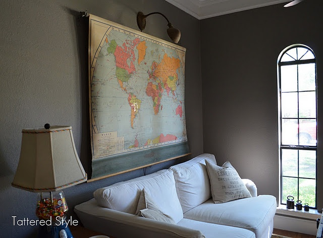 Old Pull Down Map With Antique Desk Lamp Dinner RoomWall