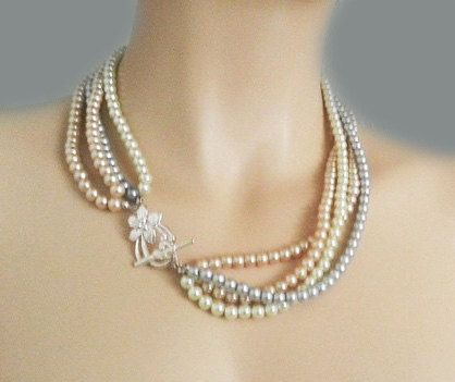 Grey Pearl Necklace Champagne Pearl by SukranKirtisJewelry on Etsy