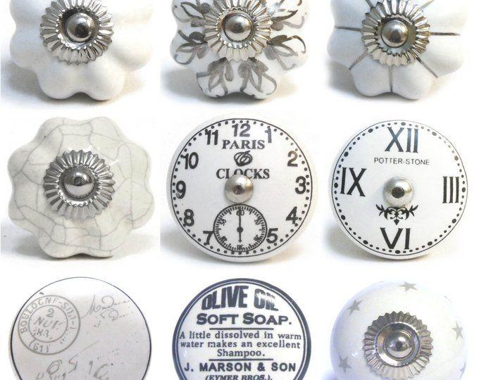 Black and White Flat Ceramic Knobs Kitchen Cabinet Drawer Pulls Drawer knobs