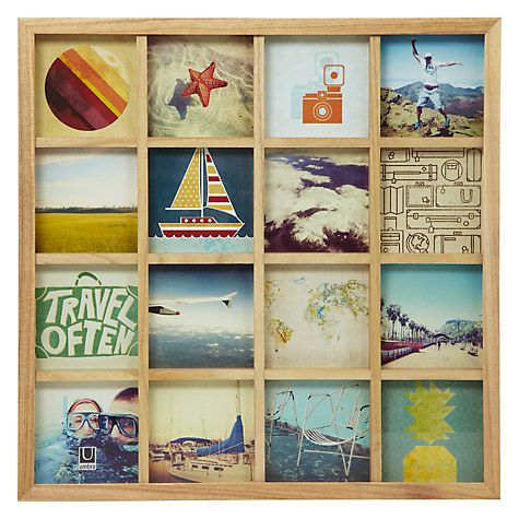 "Buy Umbra Multi-aperture Gridart Photo Display, 16 Photo, 4 x 4"" (10 x 10cm) Online at johnlewis.com"