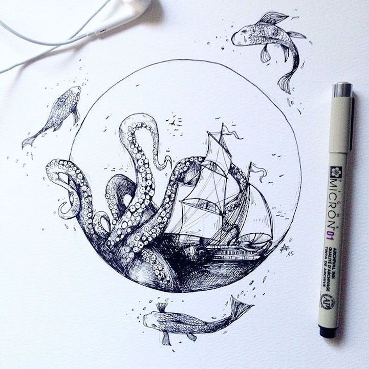 Intricate Pen Drawings Interweave Elements of the …