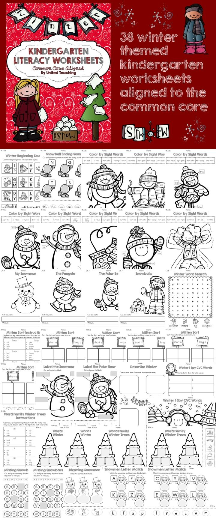 Kindergarten Common Core Aligned Winter Literacy Worksheets (from United Teaching)
