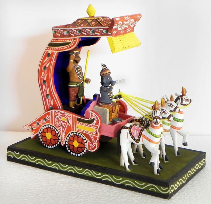Krishna and Arjuna on a Chariot during Kurukshetra War in Mahabharata - Kondapalli Doll (Wood)