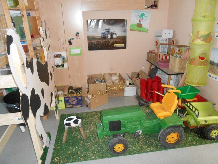 Boerderijhoek: Koe, laarzen, verkleedkledij (overalls en petjes + kledij van dieren), stallen voor dieren (knuffels), tractor met kar (om in de gang op rond te rijden), stokpaardjes, ... Klasversiering: posters van tractors en dieren, foto's van op de boerderij, eigen werkjes (kronen van de koe, grote koe met handafdrukken als koevlekken, ...)