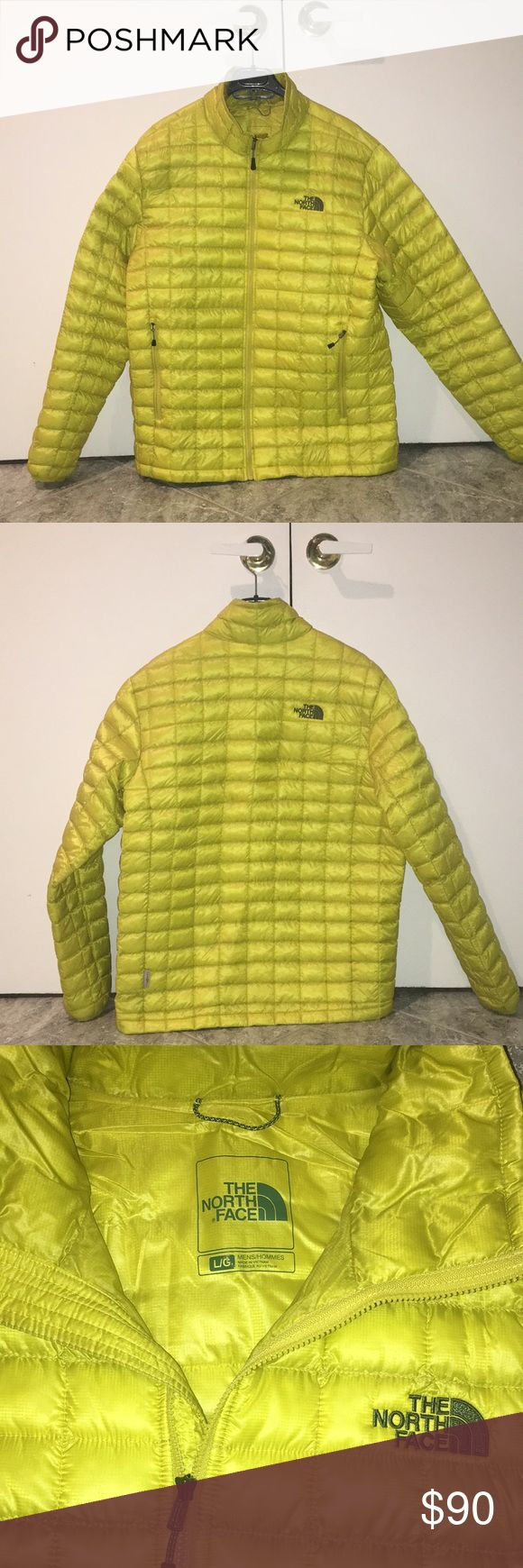 Mens North Face Thermoball Jacket Full Zip in Great Condition. Insulated and Lightweight for Warmth. Color is a cross between neon yellow and green North Face Jackets & Coats