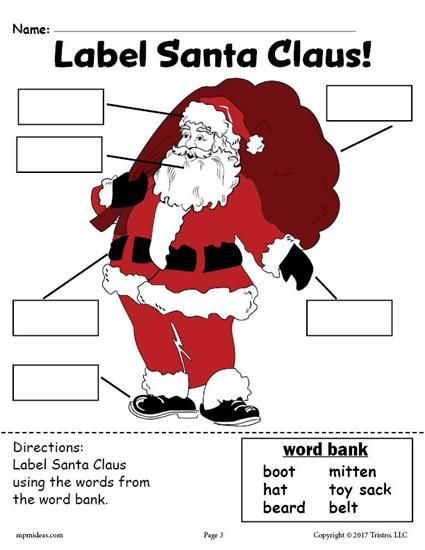 FREE Printable Santa Claus Labeling Worksheet! Practice handwriting, scissor skills, fine motor skills, and more with these fun Santa Claus labeling worksheets. Get both versions of this Christmas worksheet here including the cut and paste worksheet --> https://www.mpmschoolsupplies.com/ideas/7884/free-santa-claus-labeling-worksheets-includes-a-cut-and-paste-worksheet-writing-worksheet/