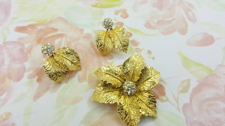 Judy Lee Sparkle Leaves Gold Brooch and Clip earrings Wedding Party Shine Chic