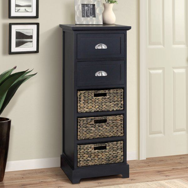 The Fleming 5 Drawer Cabinet is handcrafted with sturdy wood construction in a beautiful Espresso finish. The look is clean, rich, and transitional. Features 2 framed wood drawers with brushed chrome metal apothecary style handles as well as 3 tone on tone rush basket drawers with complimentary open style handles. Ample storage for from clothing to keepsakes or home office supplies. Perfect as accent piece as well as functional bedroom, bathroom, or home office storage. Completely Assembled…