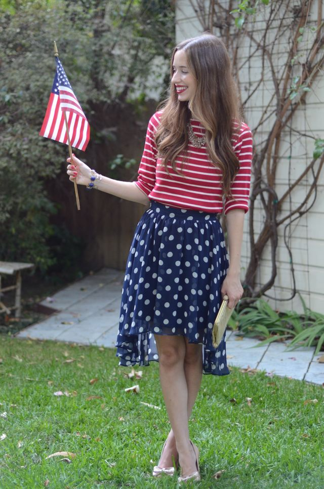 4th of July outfit, doted asymmetric skirt, red and white striped top, statement necklace, USA flag @Mara {M loves M}