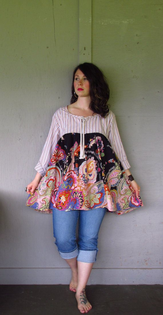 Funky Summer top/upcycled clothing/Romantic Baby doll dress/Bohemian mini dress/Eco Tunic/Artsy Frock Large-X Large-1X plus size