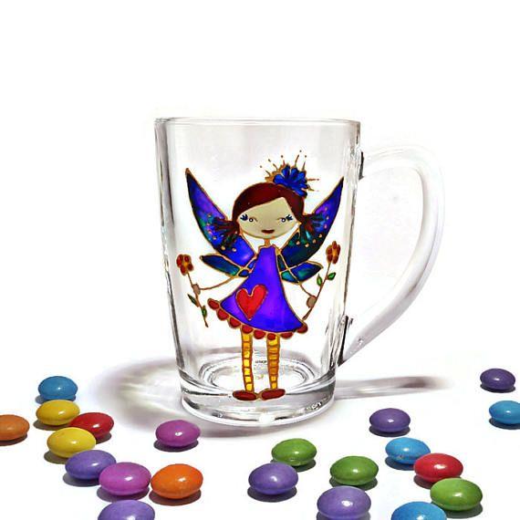 Fairy Mug Coffee glass Mug Hand painted Mug Girly gift