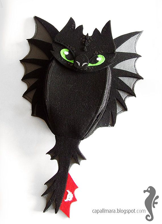 Backpack Toothless - SMALL for child - funny, cute black dragon - felt - wings - for fan - how to train your dragon - MADE to ORDER