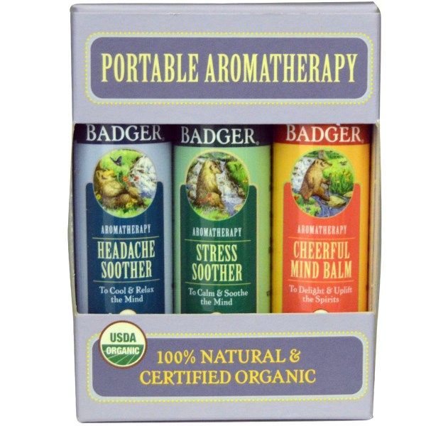 Badger Company, Portable Aromatherapy, Mind Balm Variety Pack, 3 Balms, .60 oz (17 g) Each  #stress #formula #support #balance #management #iherb #thingstobuy #shopping #relief