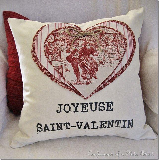 Gorgeous Saint Valentine pillow with toile de jouy heart!