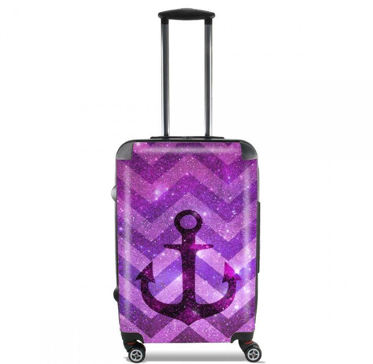 Valise Ancre perdu dans l'espace Violet cabine trolley personnalisée by Monika Strigel  95 €  #trolley #cabinetrolley #koffer #handgepäck #reisekoffer #kabinenkoffer #girlsontour #luggage #baggage #rolls #rollenkoffer