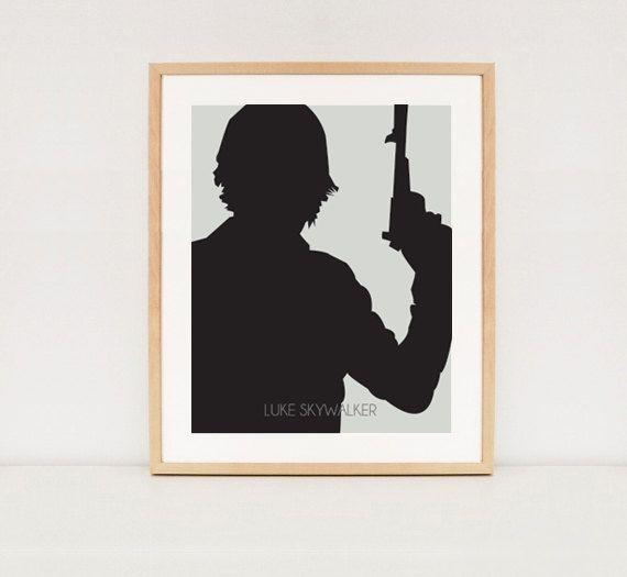 Star wars poster Silhouette Luke Skywalker wall by ...