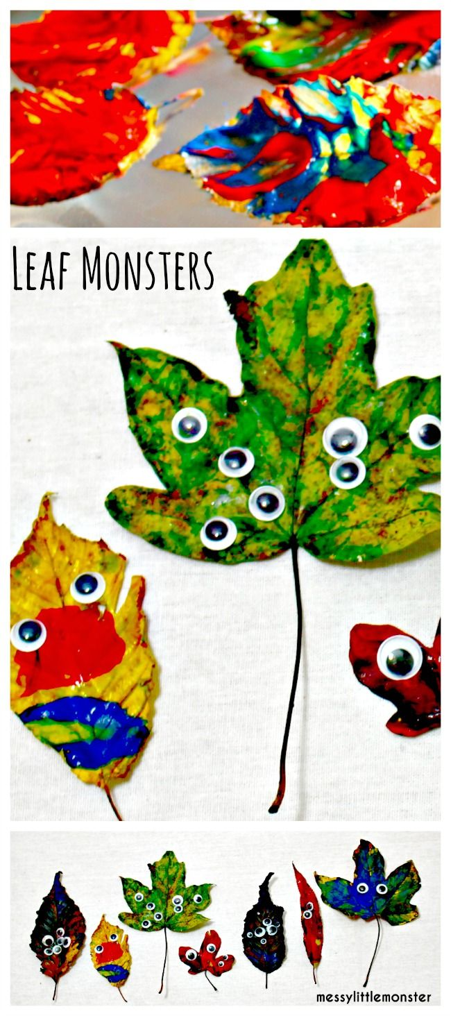 Messy Little Monster: Painted leaf monster craft