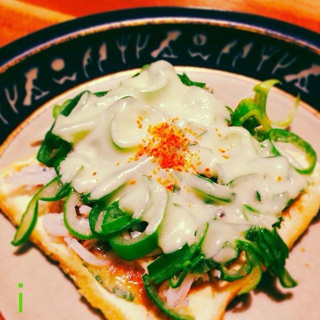 ネギてんこ盛りで頂きました♪ ご馳走さま〜 - 47件のもぐもぐ - 咲きちゃんさんの料理 オツな肴シリーズ②ピリ辛ネギ味噌きつねピザ by izooming