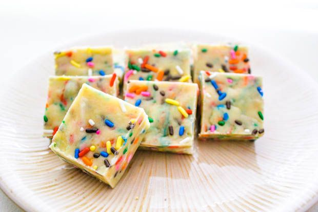Cake Batter White Chocolate Fudge - no bake fudge that tastes like