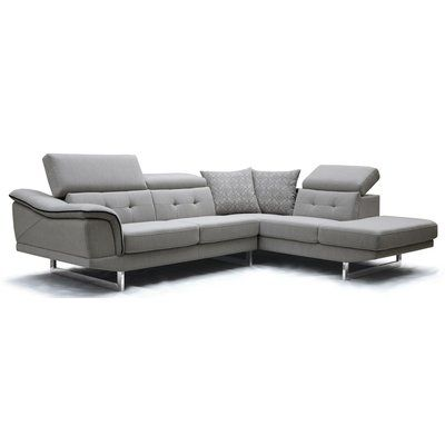"""The Eva Sectional by Diamond Sofa offers many options to your seating pleasures. Its independently adjustable backrests offer custom seating opportunities. Click-Clack arm rest on the Chaise provides the perfect """"pillow"""" for your relaxing. Adjustable arm rest on the Sofa allows you to extend it to the outside for maximum seating width. Tray Table allows for drinks, remotes, etc. Polished metal legs, this collection will soon become the gathering spot in your family's home."""