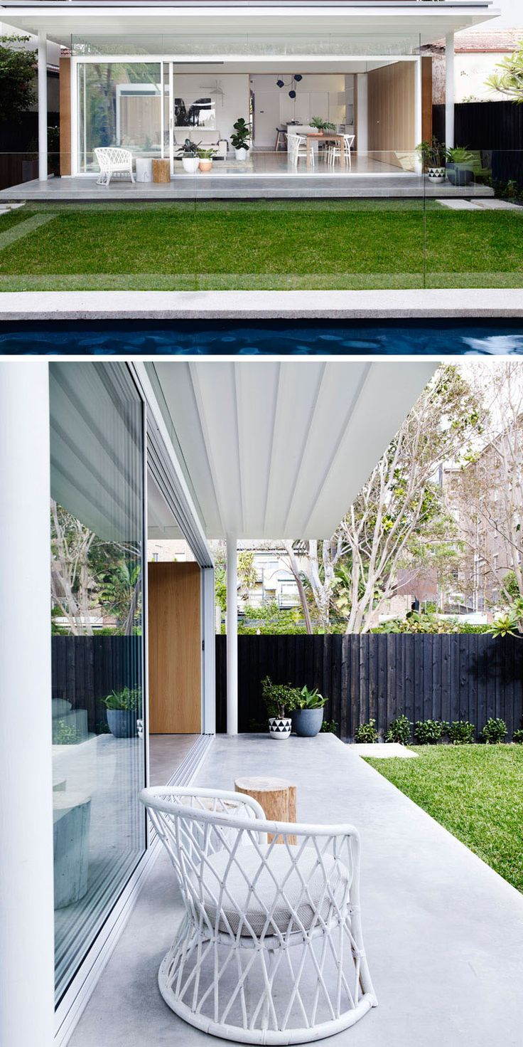 A covered patio area extends the living area of this renovated house to the outdoors, and provides shade on hot summer days.