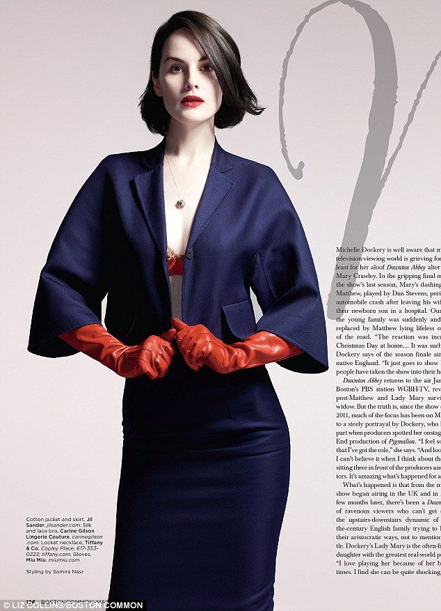 What would Lady Mary say? Michelle Dockery flashes a red bra as she wears matching red leather gloves in a sexy new shoot