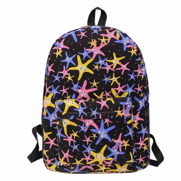 сумка холст женские рюкзаки холщевые морские звёздочки чёрные розовые жёлтые молодёжный школьный рюкзак женщины для девушек холст печати ранац ранцы для школы планшета колледжа женские яркие сумки сумка женщины XA315YL