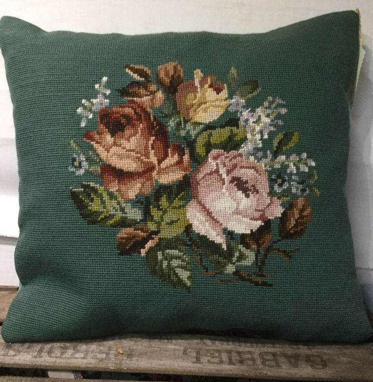 Antique needlepoint cushion pillow green by heartandhomehandmade