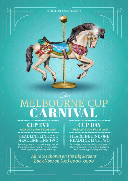 Merry Go Round Horse Template - creative design for Melbourne Cup Promotion that you can update yourself!