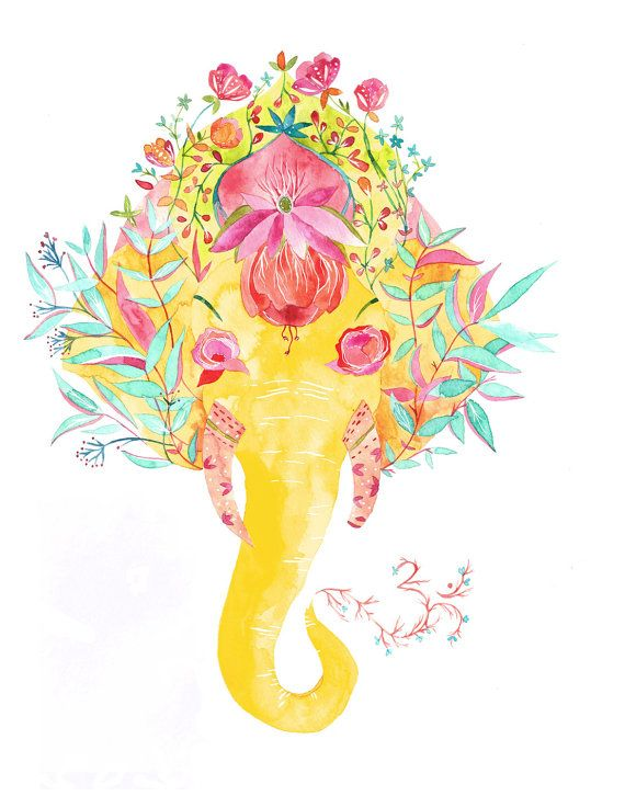 This is a print of my original watercolor illustration of the Hindu deity Ganesha, who has the head of an elephant. Ganesha is the bearer of good