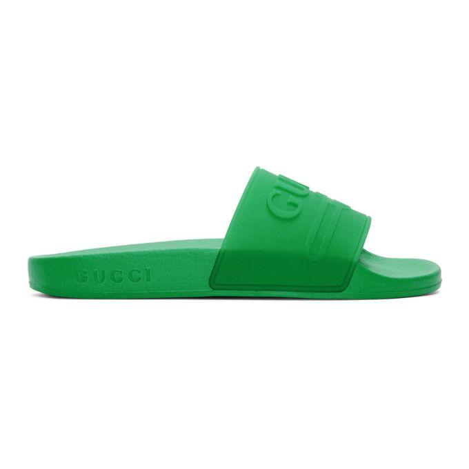 Gucci Pursuit Logo Slide Sandal In 3023