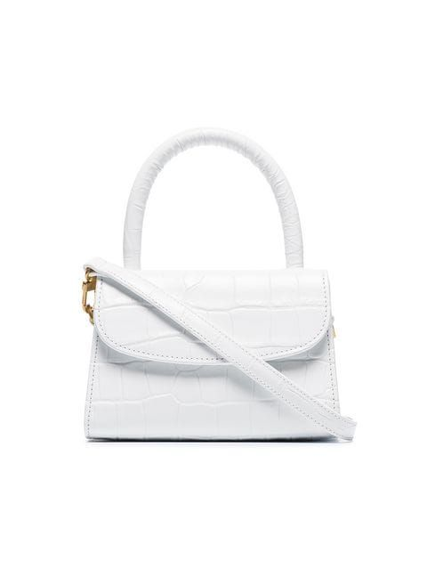 363f46a7eca420 By Far White Mini Leather Mock Croc Cross Body Bag - Farfetch ...