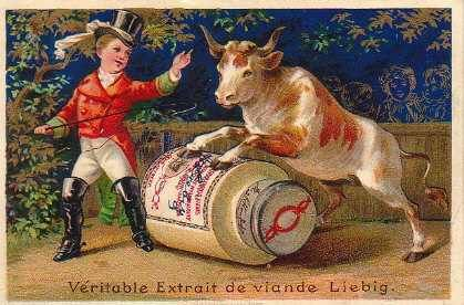 """Postcard advertising 19th century meat extract developed by Justus von Liebig, one of the scientists responsible for starting the """"protein myth"""" that lives until today"""