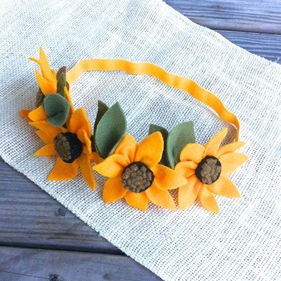 Felt Flower Crown // Sunflowers // Fall and by fancyfreefinery, $20.00
