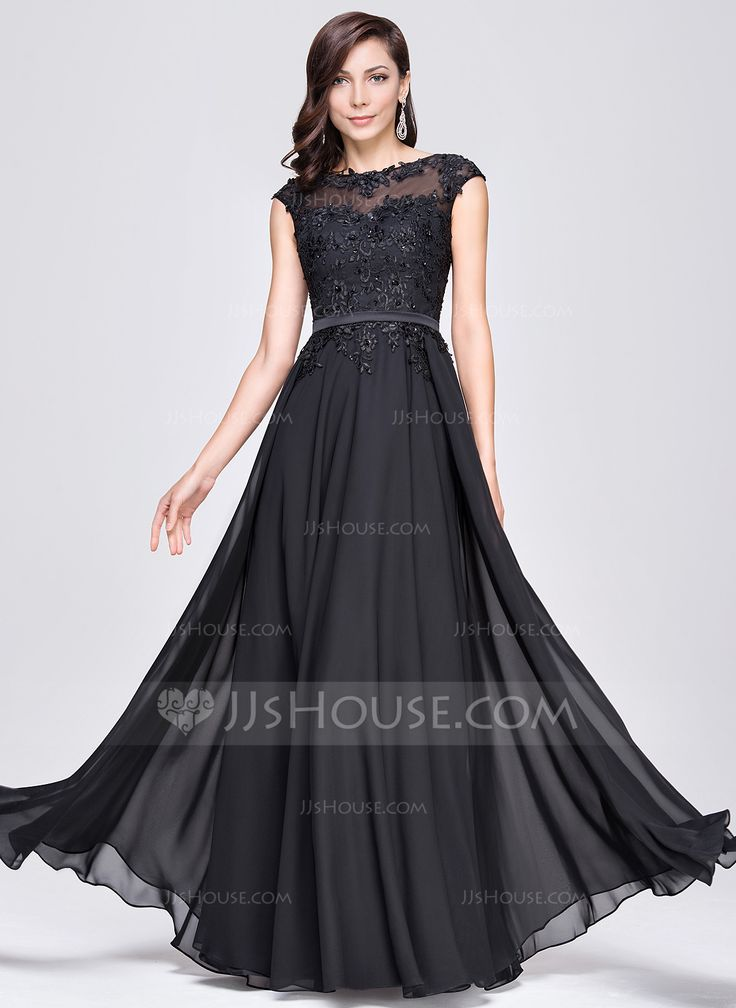 A-Line/Princess Scoop Neck Floor-Length Chiffon Charmeuse Evening Dress With Beading Appliques Lace Sequins (017064185) - JJsHouse