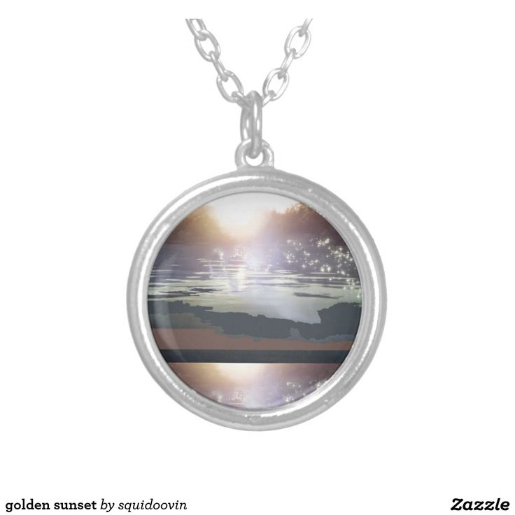 golden sunset round pendant necklace