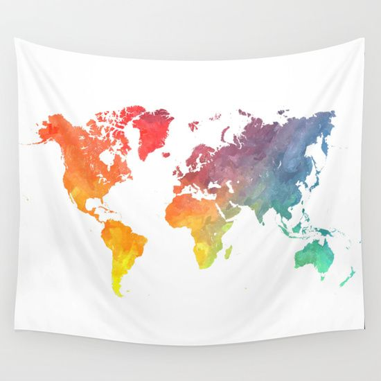 Map+of+the+world+colored+Wall+Tapestry+by+Jbjart+-+$39.00