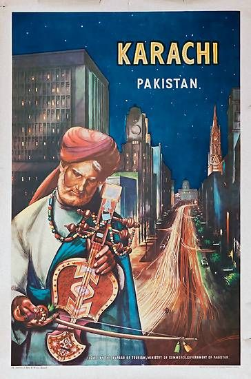 Karachi, Pakistan, old travel poster