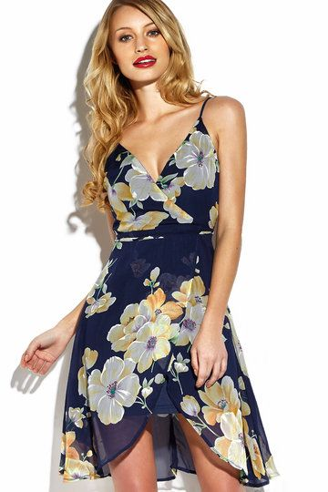 Play up to your feminine side this season in this seriously standout midi dress. It is adorned with v-neck, wrap front, sleeveless, self-tie at waist and floral print . Pair it with sandals.