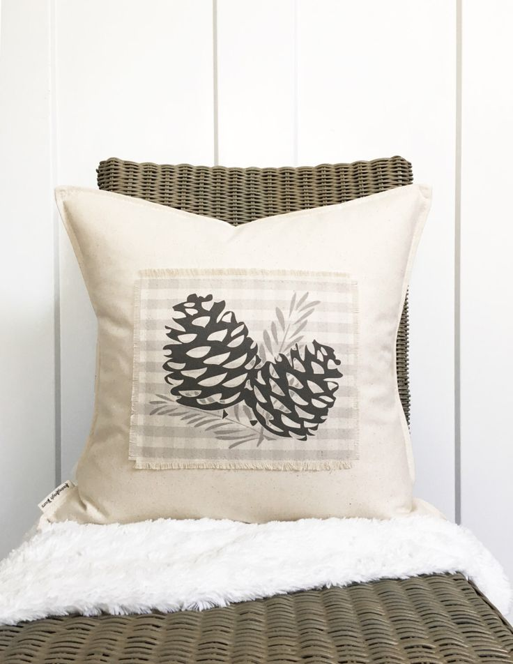 """18"""" Pinecone Pillow - Fall Entryway Decor - Autumn Pillow - Thanksgiving - Gingham Pillow - Scrappy Frayed Pillow Cover - Cotton Canvas by lovingLeighYours on Etsy https://www.etsy.com/listing/469986347/18-pinecone-pillow-fall-entryway-decor"""