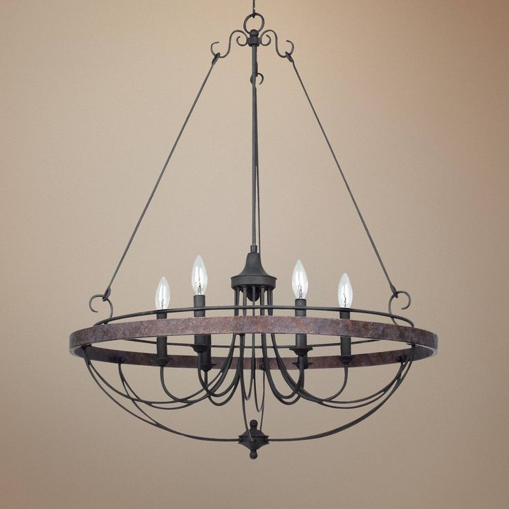 """Helena Bronze 6-Light 28"""" Wide Forged Iron Chandelier - #X3193 